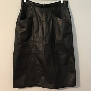 Vintage 90's Jaqueline Ferrar Black Leather Skirt